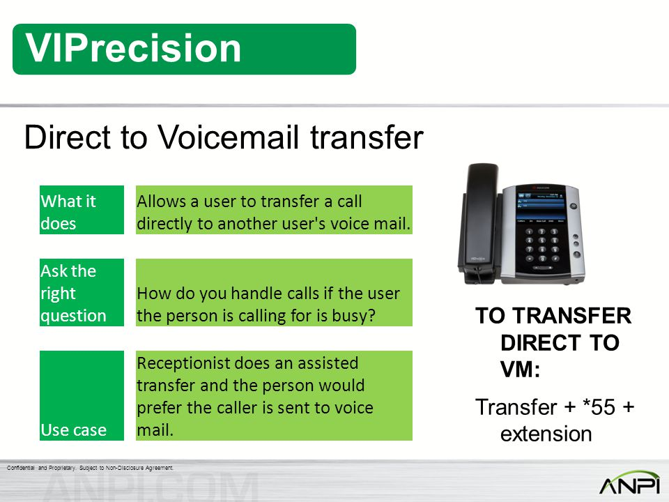 Direct to Voicemail transfer