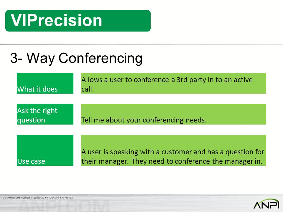 3- Way Conferencing What it does. Allows a user to conference a 3rd party in to an active call. Ask the right question.