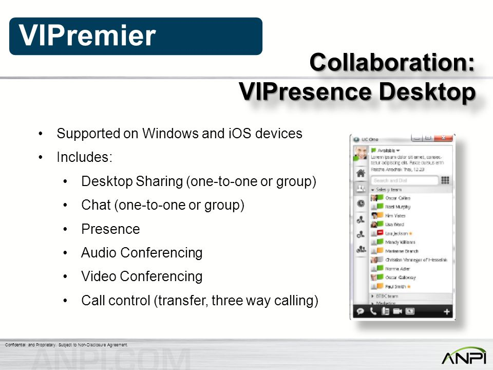 VIPresence Desktop Collaboration: Supported on Windows and iOS devices