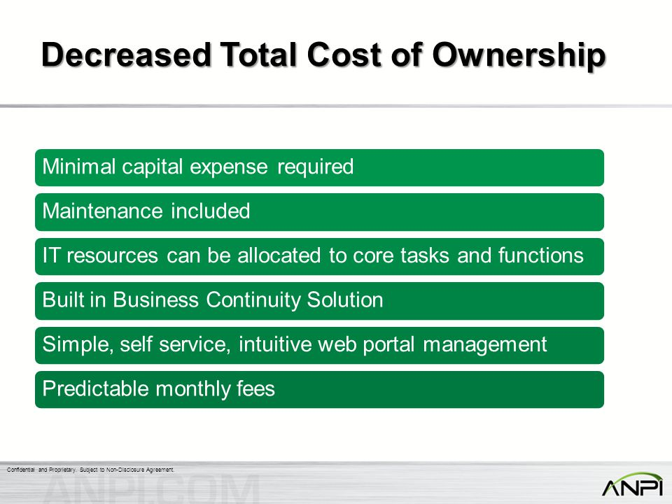 Decreased Total Cost of Ownership