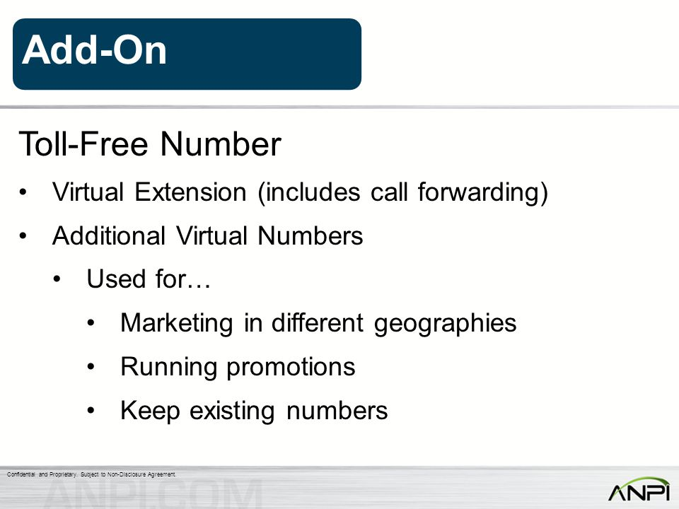 Toll-Free Number Virtual Extension (includes call forwarding)