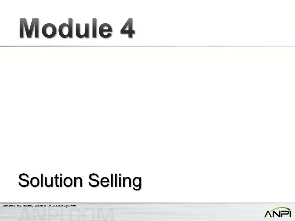 Module 4 Solution Selling