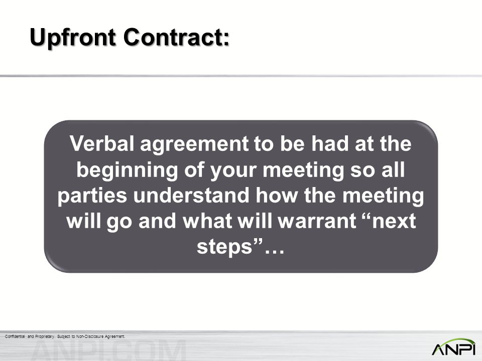 Upfront Contract: