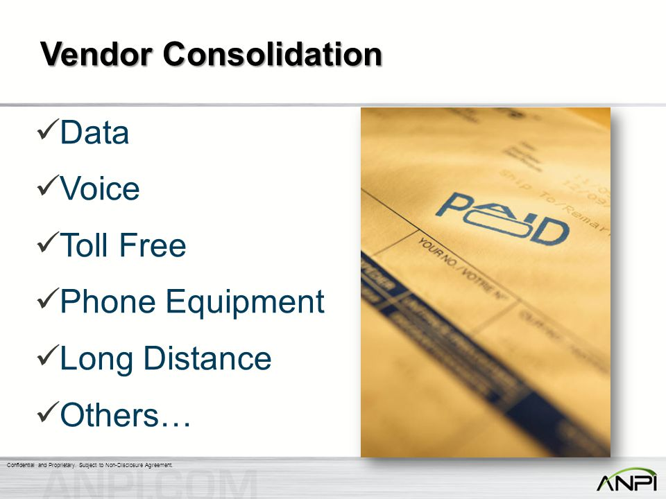 Vendor Consolidation Data Voice Toll Free Phone Equipment