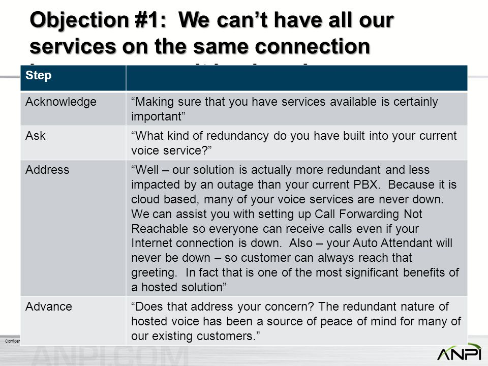 Objection #1: We can't have all our services on the same connection because we can't be down!