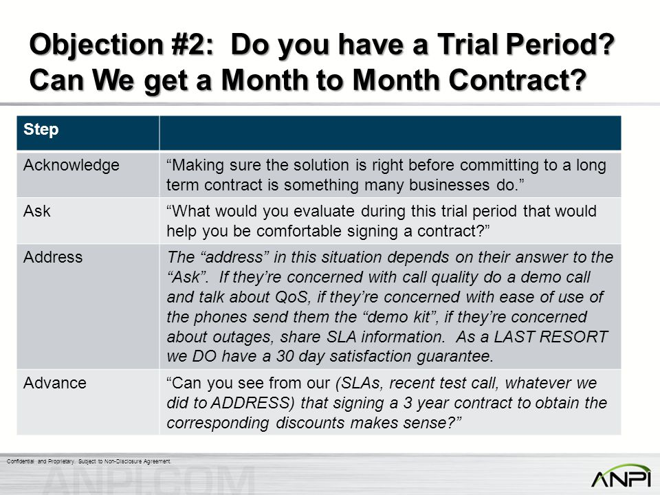 Objection #2: Do you have a Trial Period