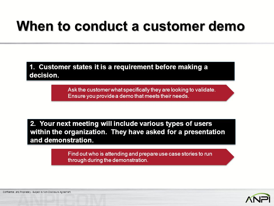 When to conduct a customer demo