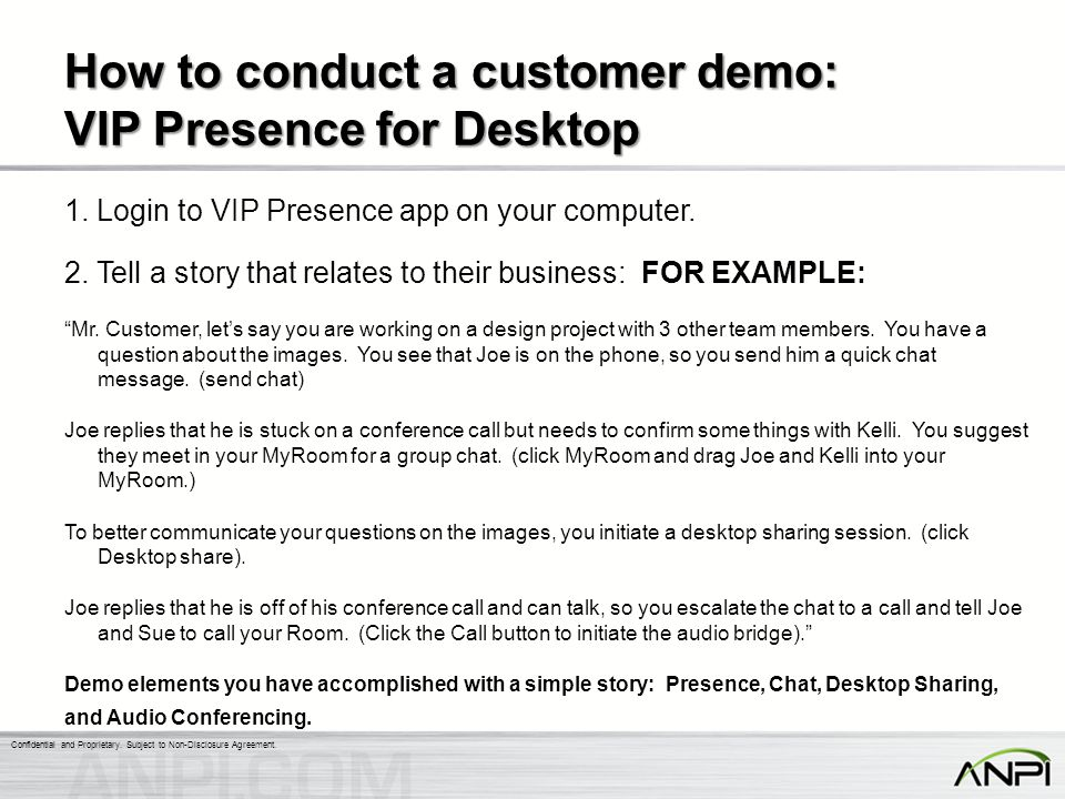How to conduct a customer demo: VIP Presence for Desktop