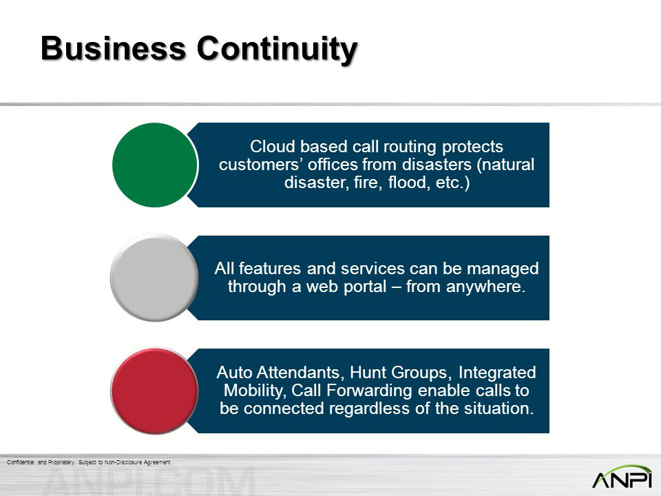 Business Continuity Cloud based call routing protects customers' offices from disasters (natural disaster, fire, flood, etc.)