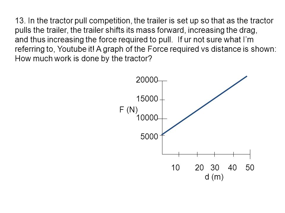 13. In the tractor pull competition, the trailer is set up so that as the tractor