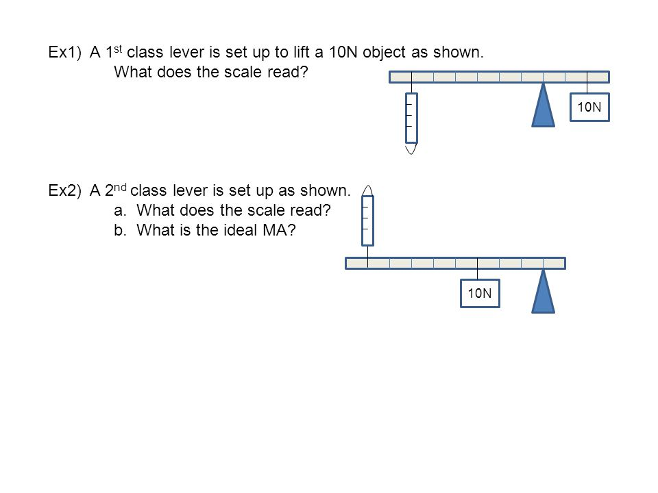 Ex1) A 1st class lever is set up to lift a 10N object as shown.