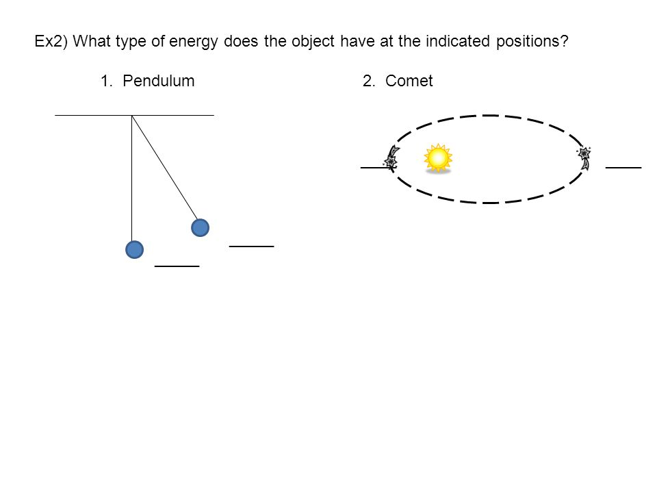 Ex2) What type of energy does the object have at the indicated positions