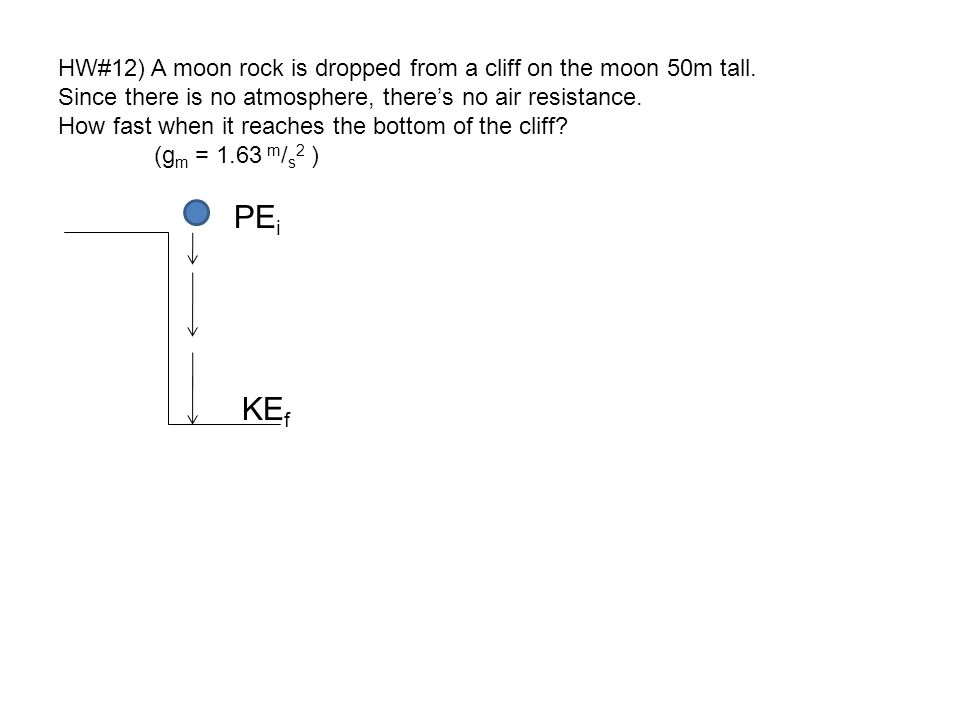 KEf HW#12) A moon rock is dropped from a cliff on the moon 50m tall.