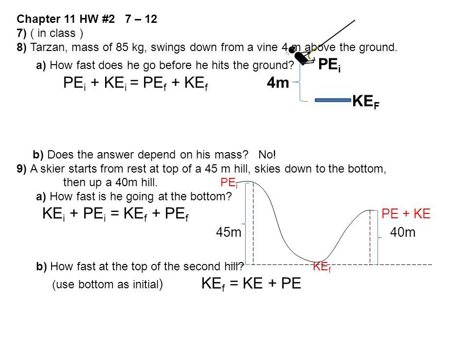 KEi + PEi = KEf + PEf PE + KE 45m 40m