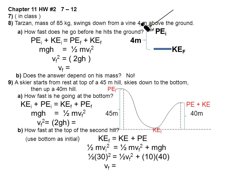 KEi + PEi = KEf + PEf PE + KE mgh = ½ mvf2 45m 40m vf2= (2gh) =