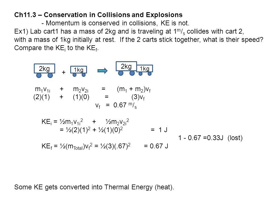 Ch11.3 – Conservation in Collisions and Explosions