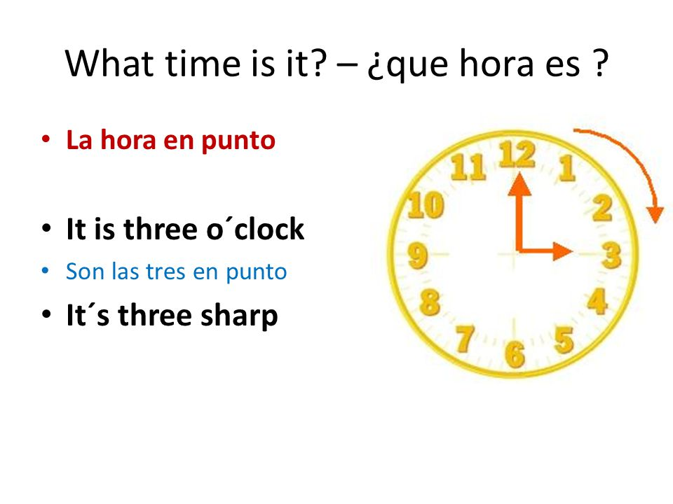 What time is it – ¿que hora es
