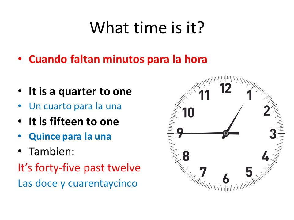 What time is it Cuando faltan minutos para la hora