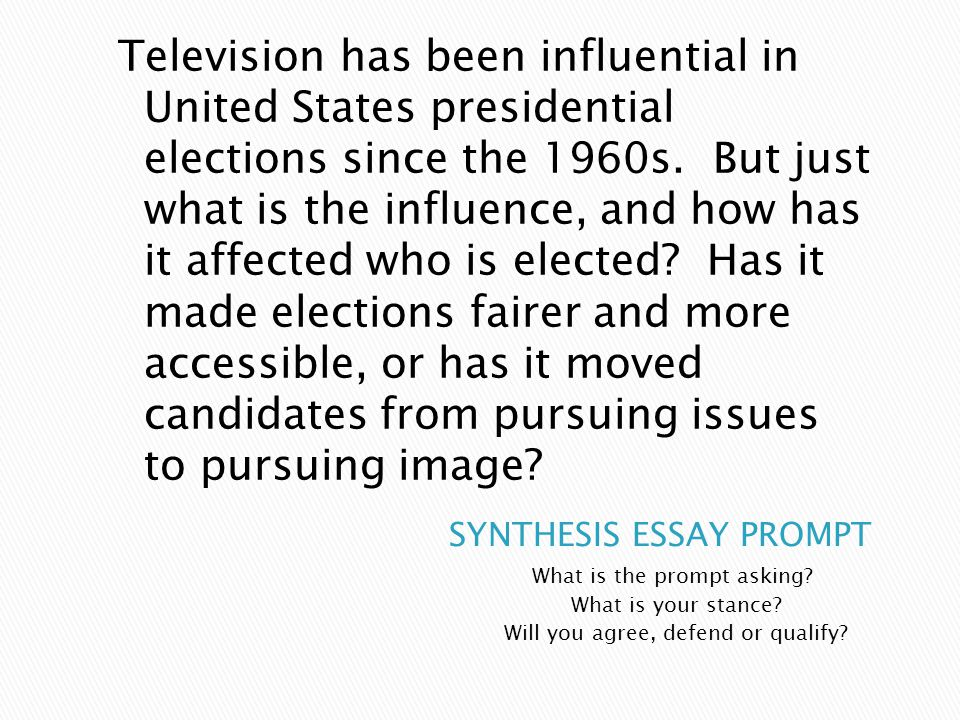 Argument Synthesis Essay: 2016 Presidential Election: Government Resources