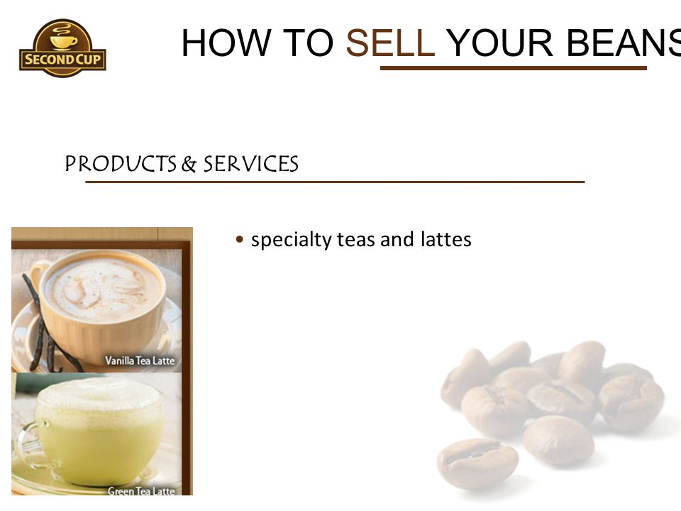 HOW TO SELL YOUR BEANS PRODUCTS & SERVICES specialty teas and lattes