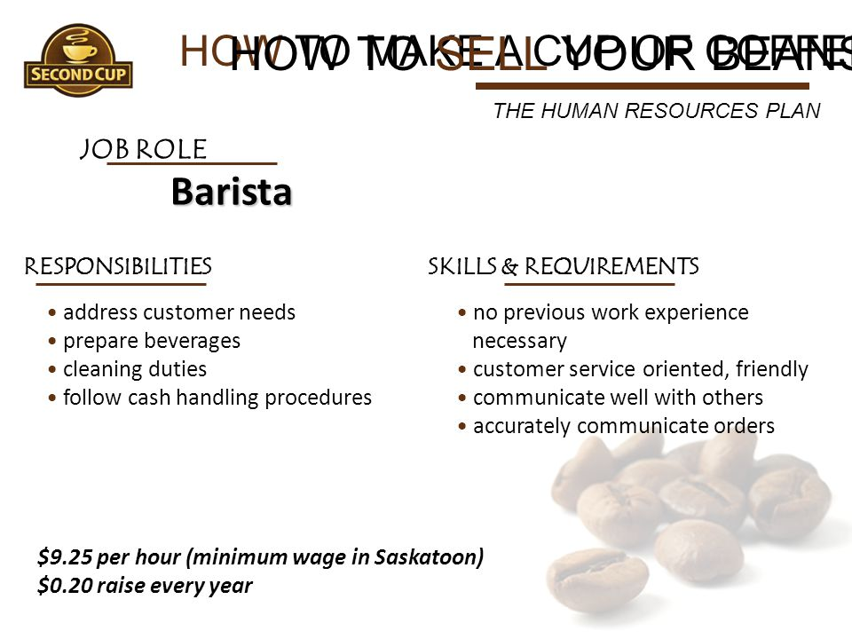 HOW TO SELL YOUR BEANS HOW TO MAKE A CUP OF COFFEE Barista JOB ROLE