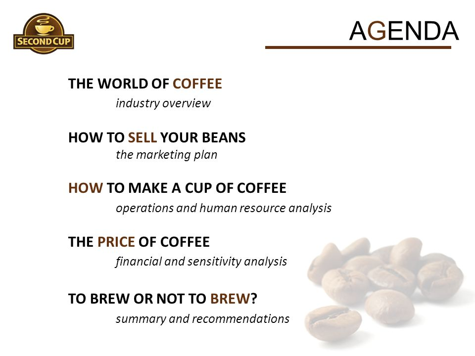 AGENDA THE WORLD OF COFFEE industry overview HOW TO SELL YOUR BEANS