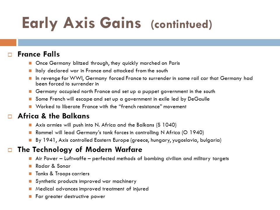 Early Axis Gains (contintued)