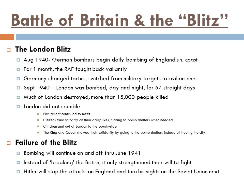Battle of Britain & the Blitz