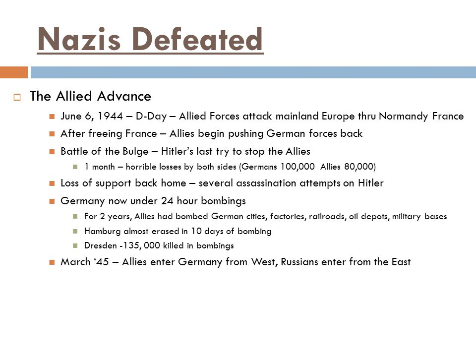 Nazis Defeated The Allied Advance
