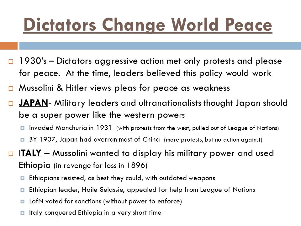 Dictators Change World Peace