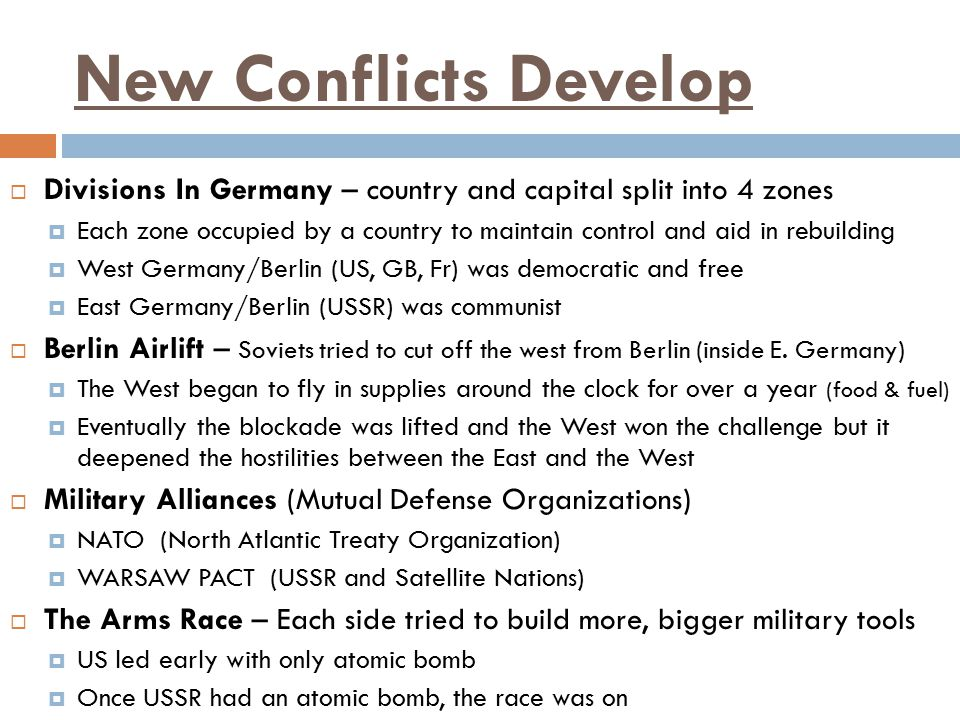New Conflicts Develop Divisions In Germany – country and capital split into 4 zones.
