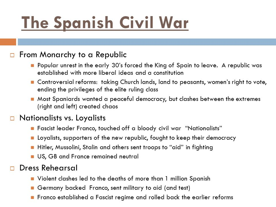 The Spanish Civil War From Monarchy to a Republic