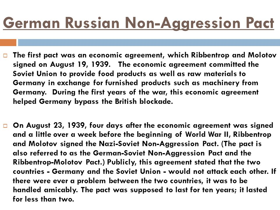 German Russian Non-Aggression Pact