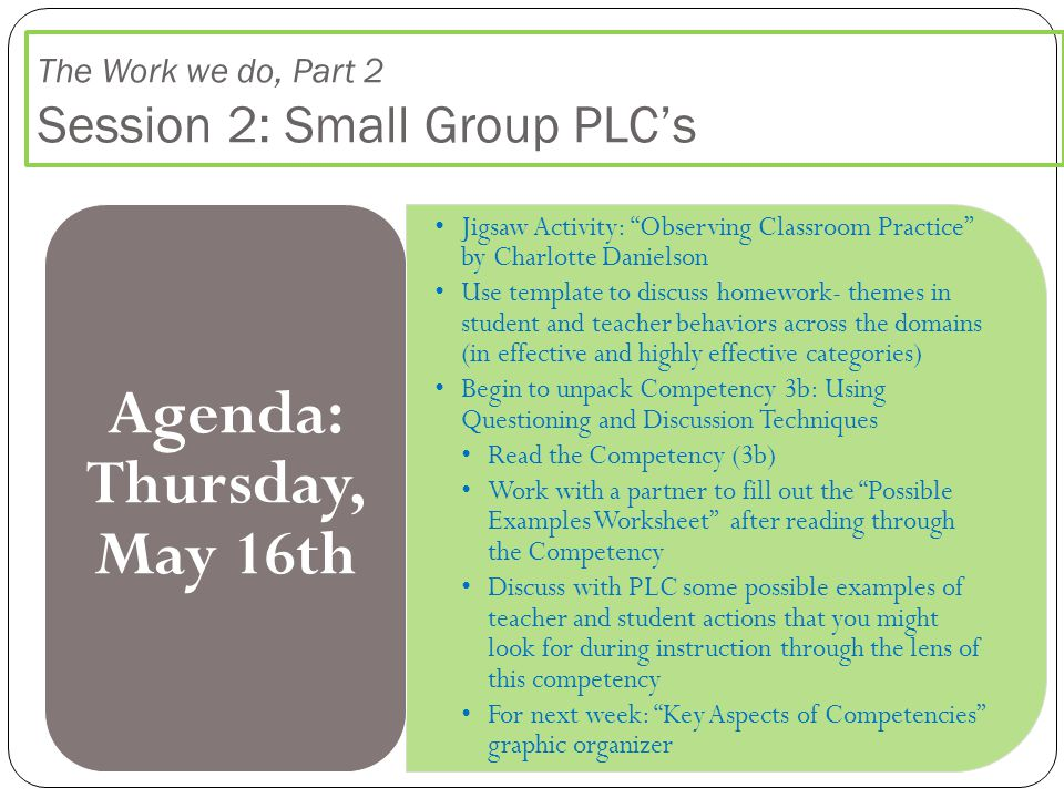 The Work we do, Part 2 Session 2: Small Group PLC's