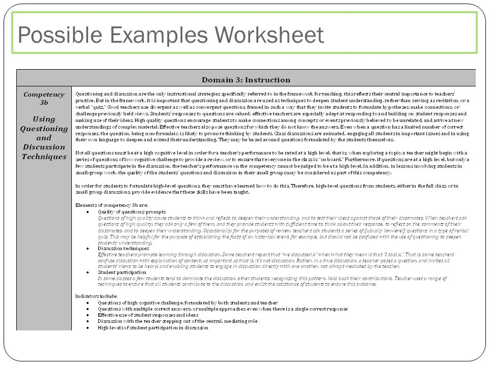 Possible Examples Worksheet
