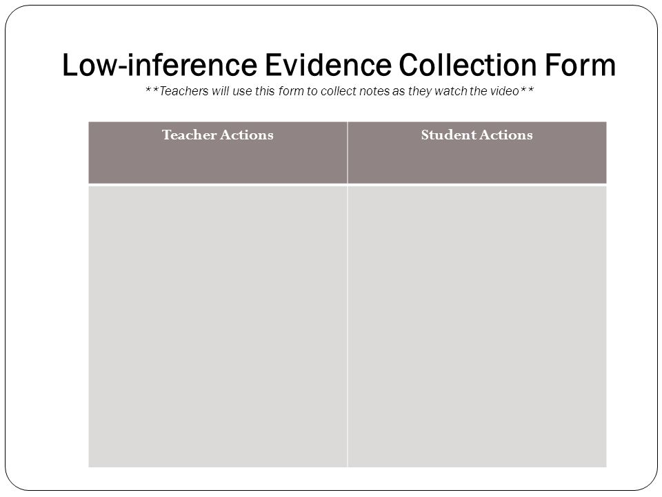 Low-inference Evidence Collection Form