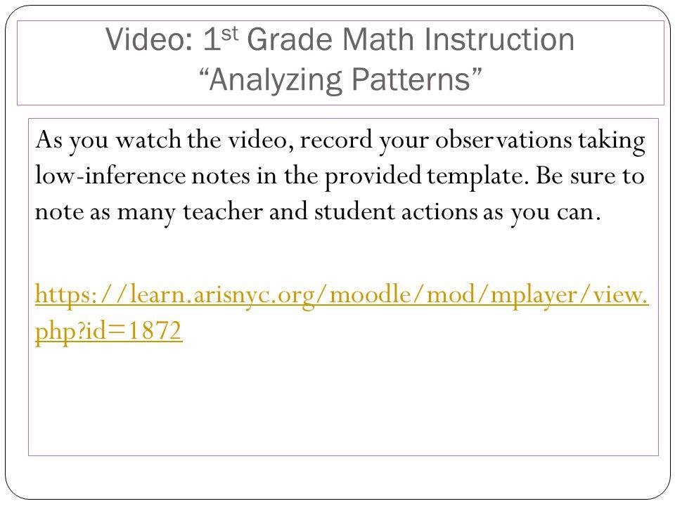 Video: 1st Grade Math Instruction Analyzing Patterns
