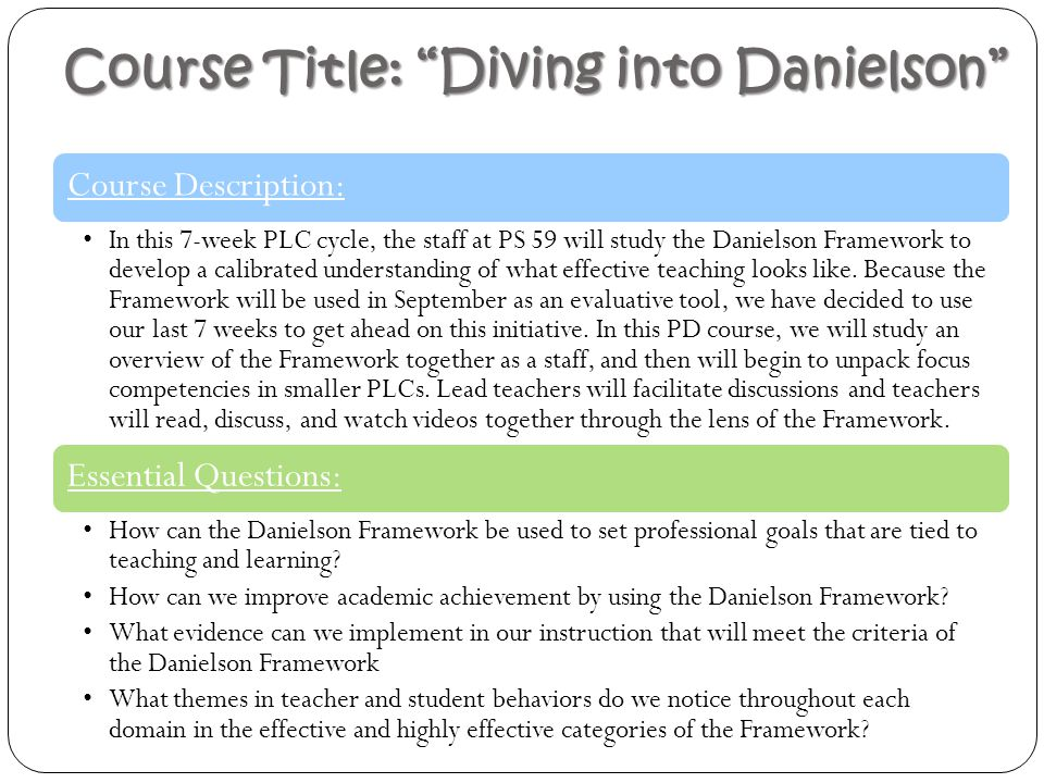 Course Title: Diving into Danielson