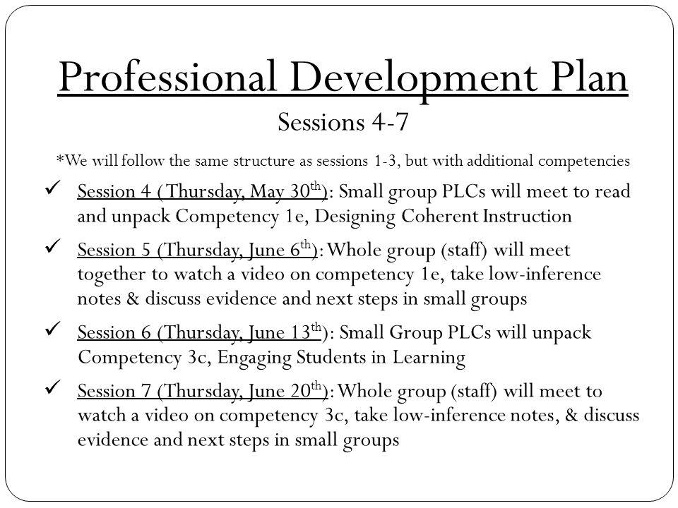Professional Development Plan Sessions 4-7