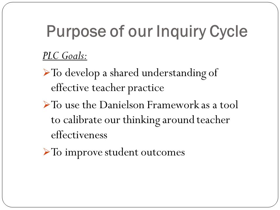 Purpose of our Inquiry Cycle