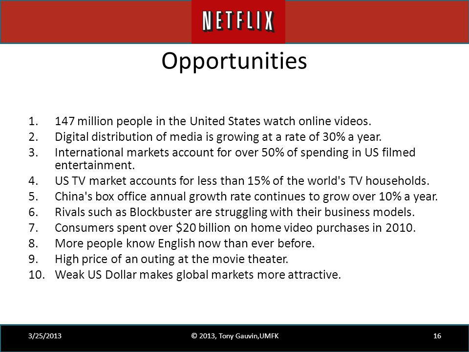 Opportunities 147 million people in the United States watch online videos. Digital distribution of media is growing at a rate of 30% a year.