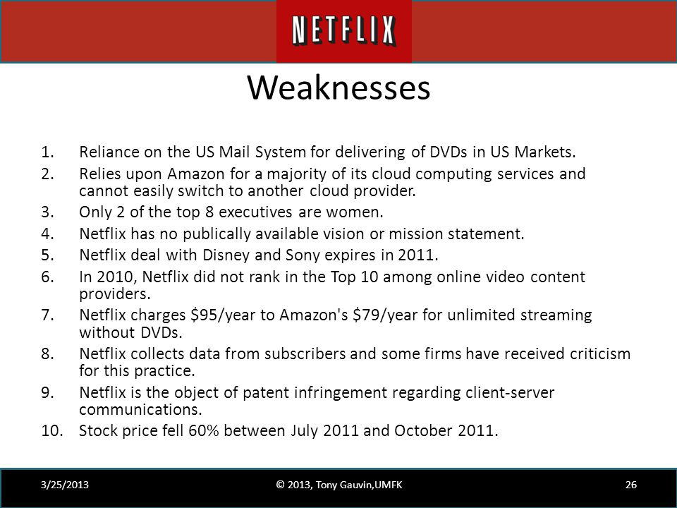 Weaknesses Reliance on the US Mail System for delivering of DVDs in US Markets.