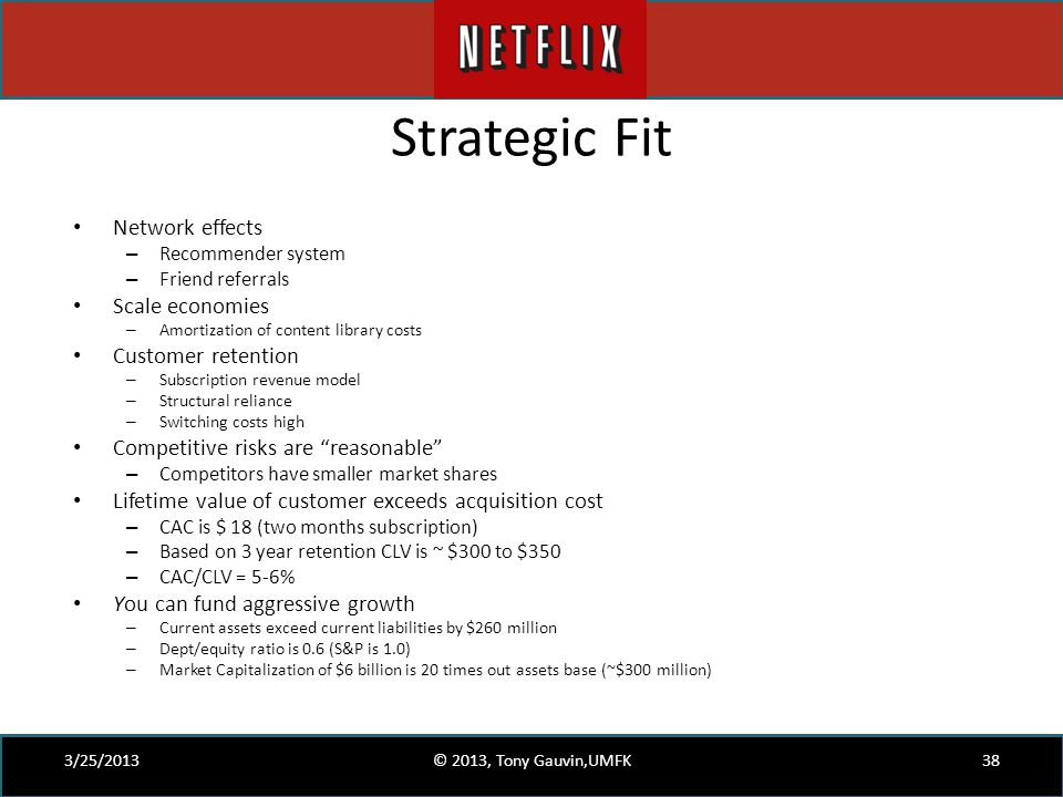 Strategic Fit Network effects Scale economies Customer retention