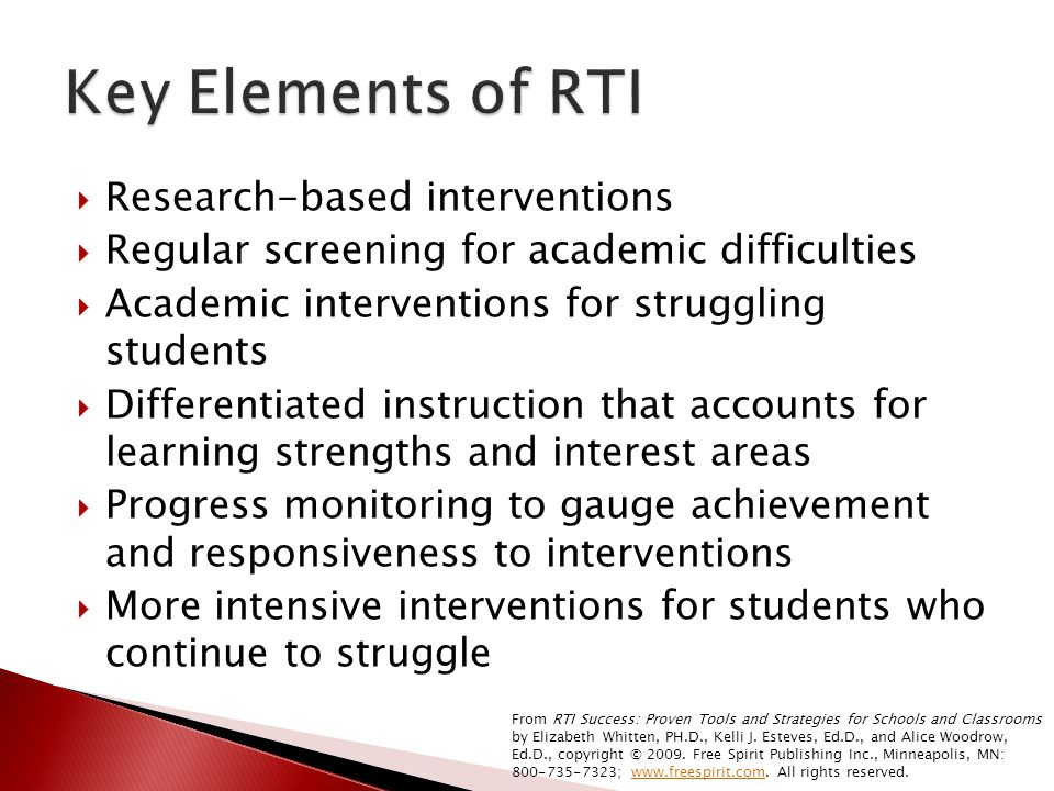 Key Elements of RTI Research-based interventions