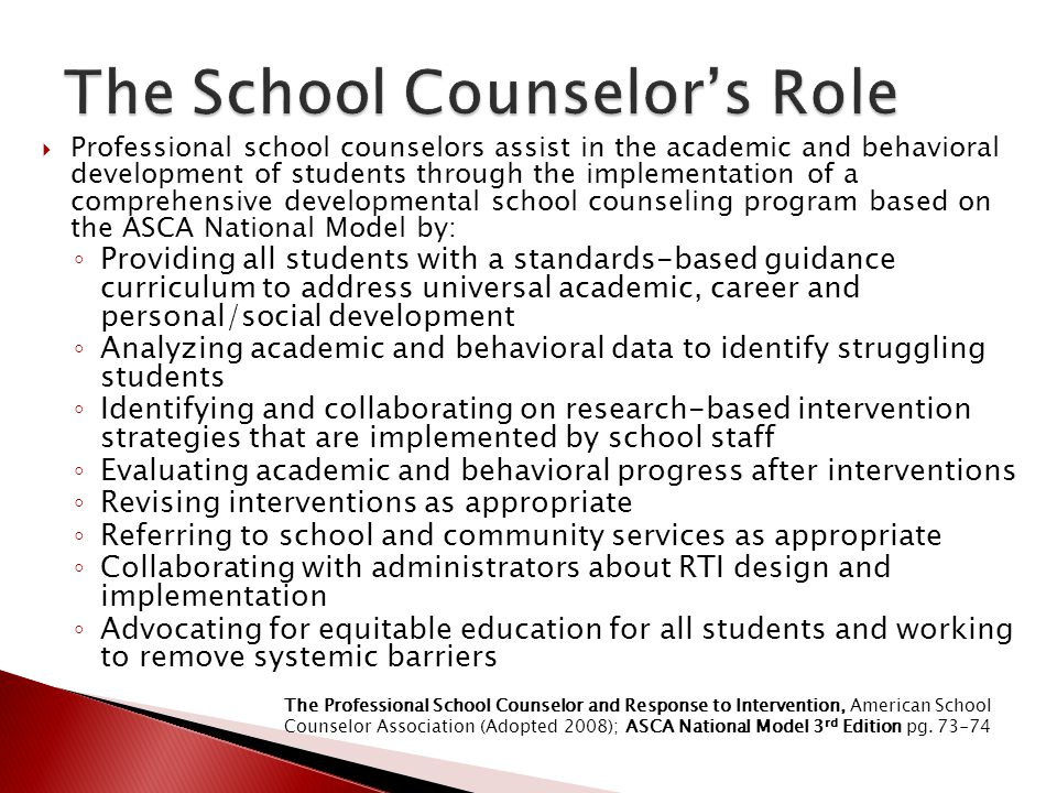 The School Counselor's Role