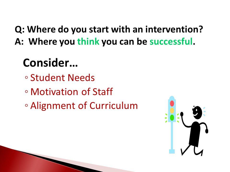 Consider… Student Needs Motivation of Staff Alignment of Curriculum
