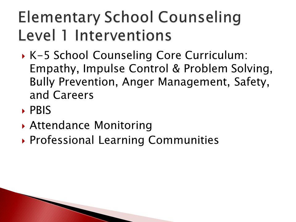 Elementary School Counseling Level 1 Interventions