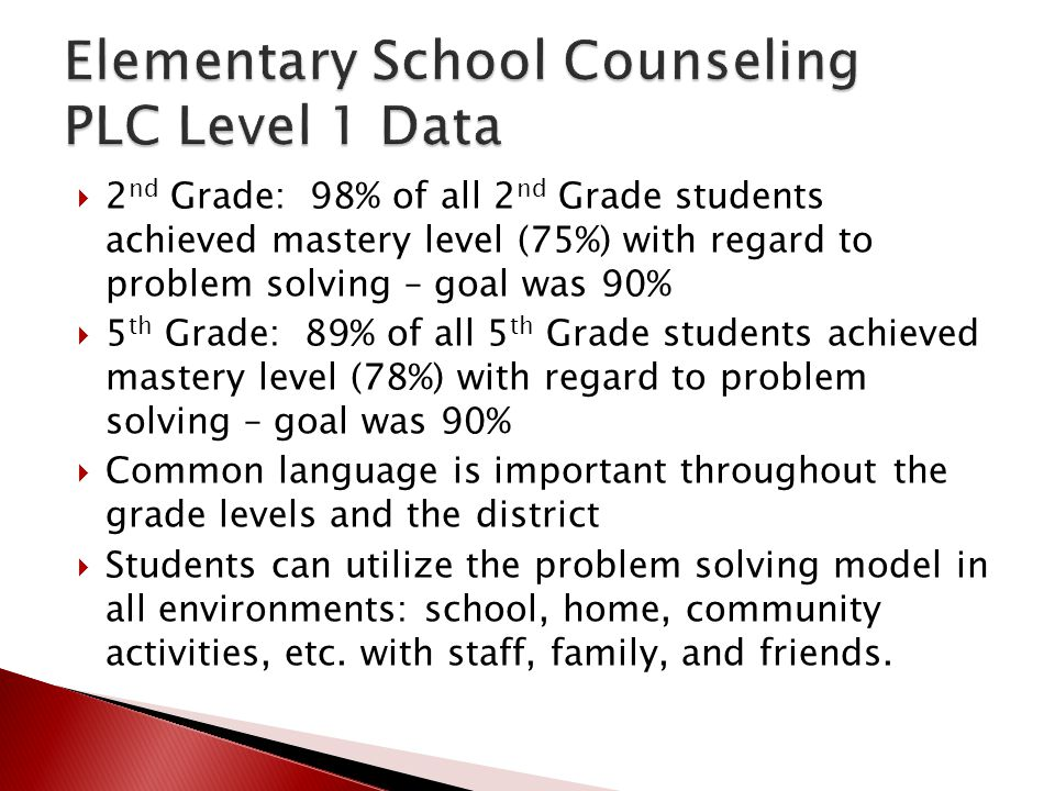 Elementary School Counseling PLC Level 1 Data
