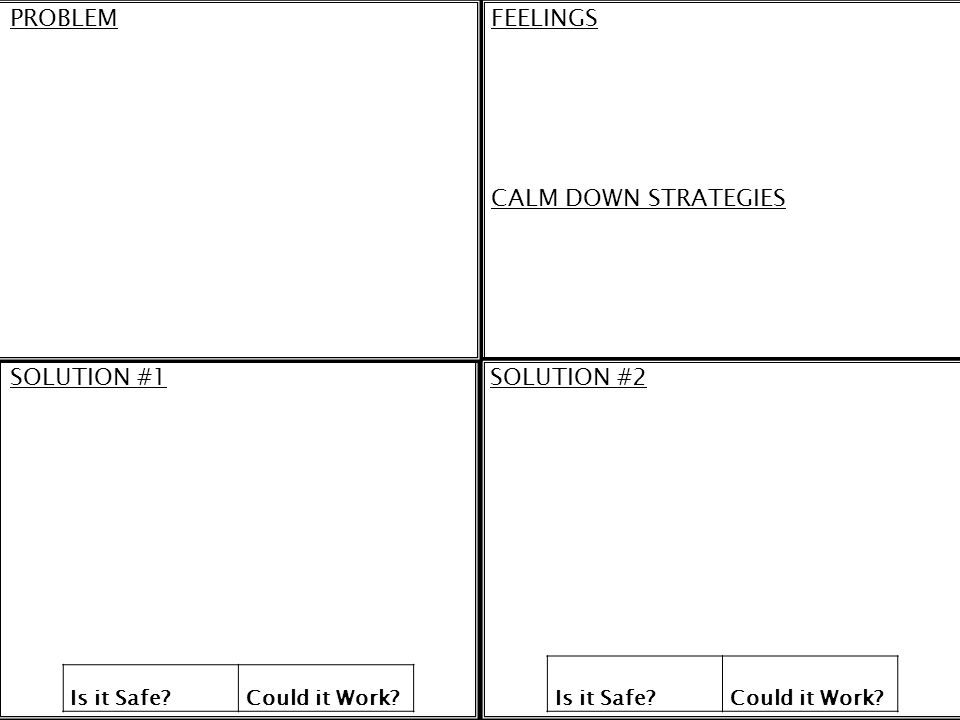 PROBLEM FEELINGS CALM DOWN STRATEGIES SOLUTION #1 SOLUTION #2