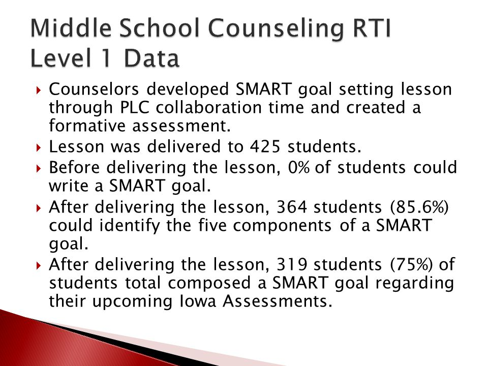 Middle School Counseling RTI Level 1 Data